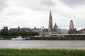 Antwerp skyline of with the cathedral of our lady at the scheldt river Stock Photo