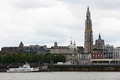 Antwerp skyline of with the cathedral of our lady at the scheldt river Royalty Free Stock Photo