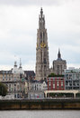 Antwerp skyline of with the cathedral of our lady at the scheldt river Royalty Free Stock Image