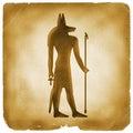 Anubis Egyptian symbol old paper Royalty Free Stock Photo