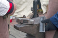 Anvil and hammer on a metal two blacksmith Stock Image
