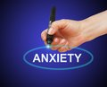 Anxiety writing word with marker on gradient background made in d software Royalty Free Stock Photography