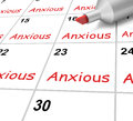 Anxious calendar shows worried fearful and showing concerned Royalty Free Stock Image