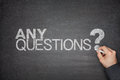 Any questions concept on blackboard black Stock Photos