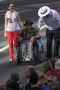 Anzac day commemorations brisbane australia april yr old veteran ken blake pushed in wheelchair during along march route during Stock Photos