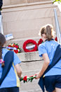 Anzac day students lay a wreath at the memorial Royalty Free Stock Images
