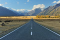 Aoraki mount cook straight empty highway leading into Stock Photos