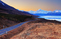 Aoraki or mount cook at sunset view from peter s lookout new zealand Stock Image