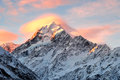 Aoraki mt cook national park sunset south island at mount new zealand Stock Photography