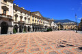 Aosta italy june view of the town square of on june is the capital and largest city of val d region Stock Image