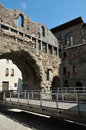 Aosta italy porta pretoria roman ruins the ancient gate of praetoria and the new suspended walkways region of valley Royalty Free Stock Photography
