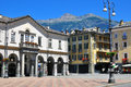Aosta town square italy june view of the of on june is the capital and largest city of val d region italy Royalty Free Stock Photography