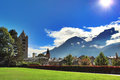 Aosta village in italy on summer day Royalty Free Stock Photography