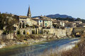 Aouste sur sye france a typical old french village in the drome sleeping in the sun near a river Stock Images
