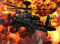 Apache gunship helicopter explosion attack with huge war Royalty Free Stock Image