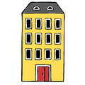 Apartment block hand drawn illustration Royalty Free Stock Photography