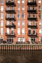 Apartment building facade with balconies Royalty Free Stock Photo