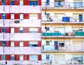 Apartment building facade facades of two poor buildings in la boca neighborhood of buenos aires Stock Image