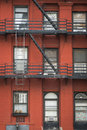 Apartment building manhattan new york city old with fire escapes Royalty Free Stock Photos