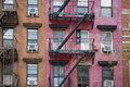 Apartment building manhattan new york city old with fire escapes Royalty Free Stock Photography
