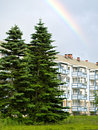 Apartment building, spruce trees and rainbow Stock Image