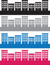 Apartment buildings colors silhouettes in different Royalty Free Stock Photography
