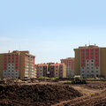 Apartment buildings from construction zone Stock Images