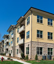 Apartment complex exterior details detail on a bright day Royalty Free Stock Photo