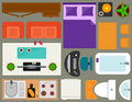 Apartment furniture set overhead top view Royalty Free Stock Photo