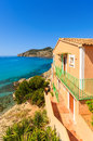 Apartment house view bay beach mountains camp de mar majorca island spain Stock Image