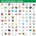 100 apartment icons set, cartoon style