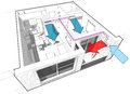 Apartment with indoor wall air conditioning diagram perspective cut away of a bedroom completely furnished x conditoner and Royalty Free Stock Photography