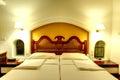 Apartment interior in the luxury hotel at night illumination Royalty Free Stock Photo