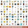 100 apartment mastery icons set, flat style