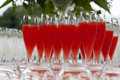Aperitif stemware for non alcoholic on tray Stock Image