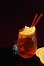 Aperol spritz with orange and ice Royalty Free Stock Photos