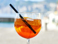 Aperol spritz with orange slices and ice Stock Images