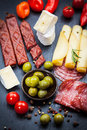 Apetizers antipasti and appetizers top view Stock Photo