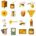 Apiary icons set, cartoon style