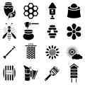 Apiary icons set, simple style
