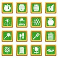 Apiary tools icons set green