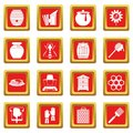 Apiary tools icons set red