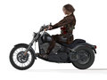 Apocalypse biker from the badlands side view illustration d poser Stock Images