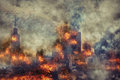 Apocalypse. Burning city, abstract vision. Royalty Free Stock Photo