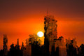 Apocalypse City Ruins Sunset Background Royalty Free Stock Photo