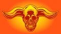 Apocalypse demon skull from hell with bullish horns. Vector illustration.