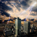 Apocalypse lightning storm in the city Stock Photos