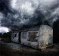 Apocalyptic landscape fantastic gloomy with thunderstorm and rain Royalty Free Stock Image