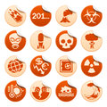 Apocalyptic and natural disasters stickers set of Royalty Free Stock Images