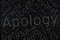 Apology ,Word cloud art on blackboard